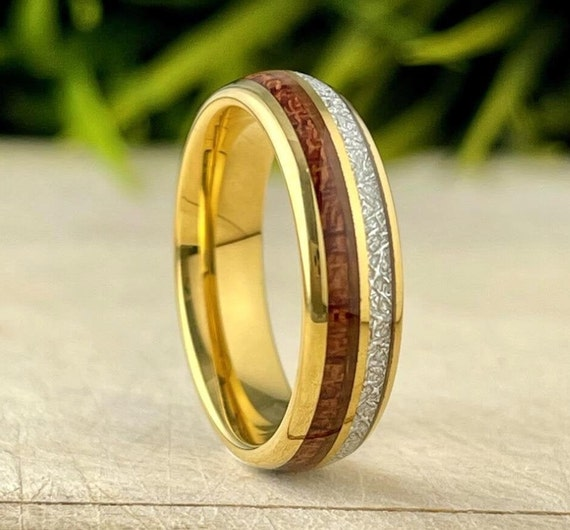 Gold Tungsten Wedding Ring Wood Meteorite Inlay Men Women Anniversary Band Polish Domed Design 6MM Size 5 - 14 Male Promise Engagement Gift