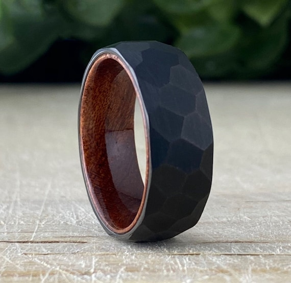 Black Hammered Tungsten Ring Wood Wedding Band Men Rosewood Inlay Brushed Design 8MM Width Size 5 to 15 Male Anniversary His Engagement Gift