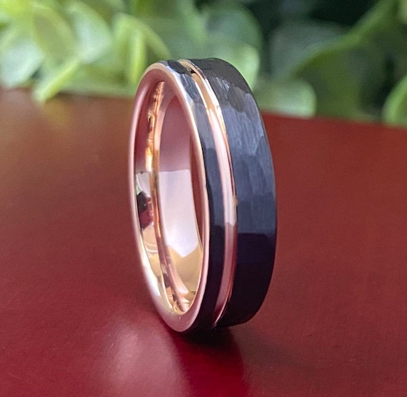 Rose Gold Tungsten Ring Black Hammered Wedding Band Women Men Comfort Fit Design 6MM Sizes 5 to 14 His Hers Anniversary Engagement Love Gift
