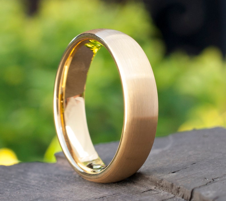 Tungsten Ring Gold Wedding Bridal Band Man's Women's image 0