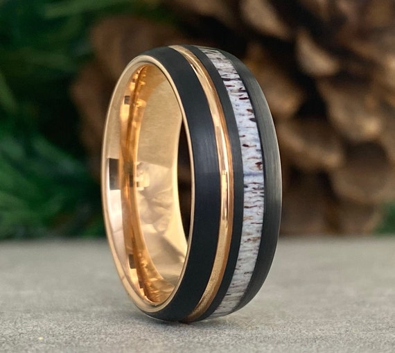 Rose Gold Black Tungsten Ring Deer Antler Men Wedding Band Groove Inlay Domed 8MM Comfort Fit Design Size 5 to 14 His Anniversary Hubby Gift
