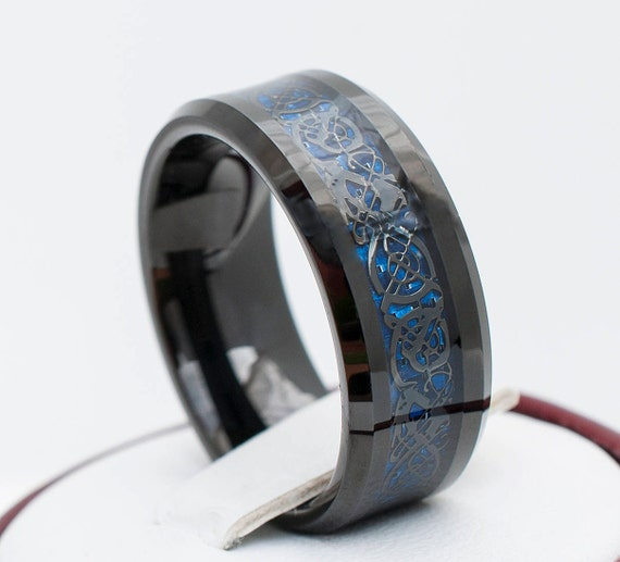 Black Tungsten Ring With Dark Blue Celtic Dragon Design Etsy