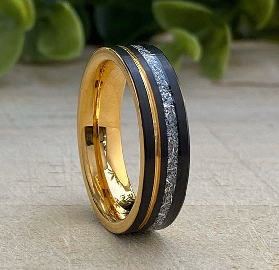 Gold Tungsten Ring 6MM Male Meteorite Inlay Black Wedding Band Yellow Groove Men Comfort Fit Size 5 to 14 Anniversary Engagement Gift Idea