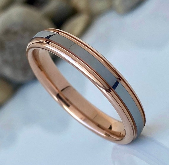 Rose Gold Grey Tungsten Ring Women MenWedding Band Polished Domed Channel Inlay Thin 4MM Size 4 to 14 Anniversary Engagement Valentine Gift