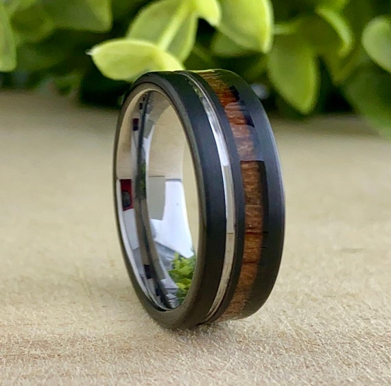 Men Grey Black Wedding Band Wood Tungsten Ring Groove 8MM Comfort Fit Male Design Size 5 to 15 Perfect Husband His Unique Anniversary Gift