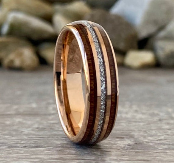Wedding Rose Gold Ring Tungsten Anniversary Band Wood Meteorite Inlay Domed 6MM Width Size 5 to 14 Men Women Engagement Promise Ring Gift