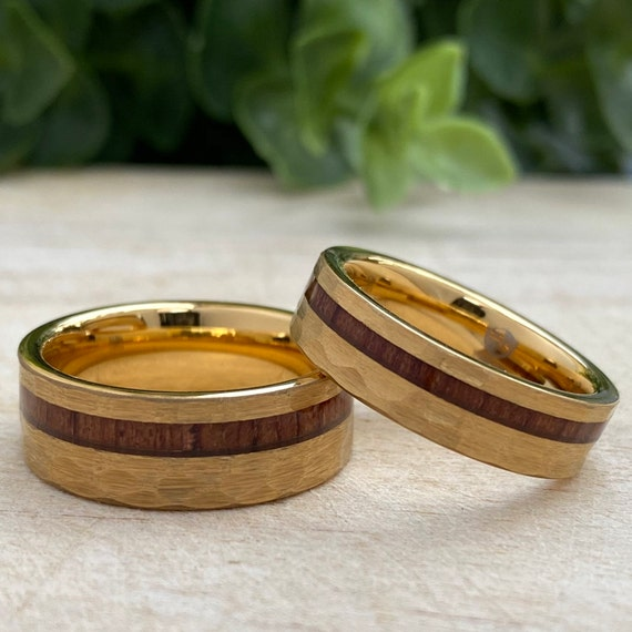 Yellow Gold Hammered Wood Tungsten Ring His Her Set or Single Wedding Band 8MM 6MM 4MM Size 4 to 15 Men Women Anniversary Duo Promise Gift