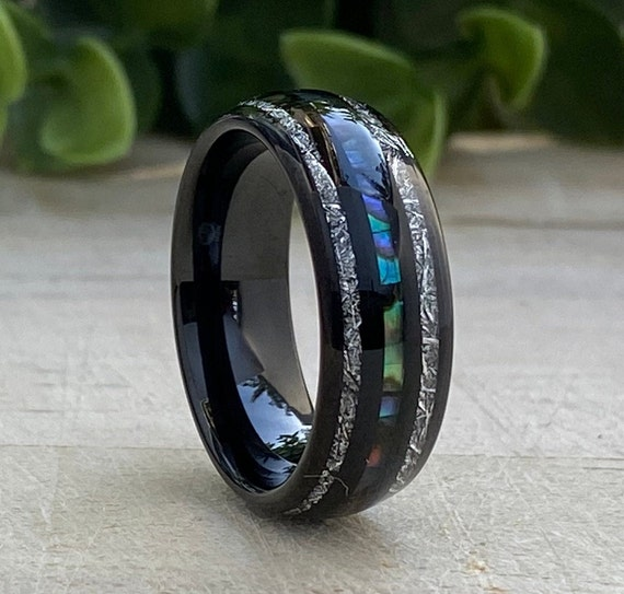 Black Tungsten Ring Meteorite Mother of Pearl 3 Layer Inlay Men Women Wedding Band 8MM Size 5-15 Male Anniversary His Hers Promise Gift Idea