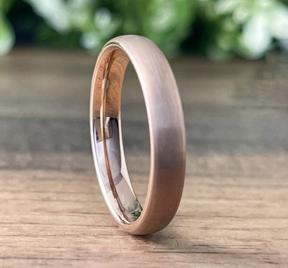 Rose Gold 4MM Wedding Band Brushed Tungsten Ring Men Woman Thin 4MM Classic Satin Design Size 4 to 14 His Her Special Anniversary Love Gift