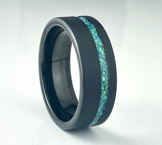 Black Tungsten Ring Green Blue Opal Inlay Wedding Band Men 8MM Brushed Comfort Fit Size 5 to 14 Male His Anniversary Engagement Special Gift
