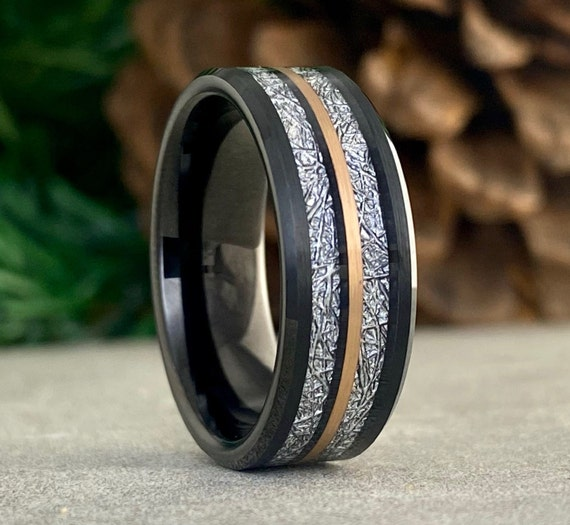 Black Tungsten Ring Meteorite Inlay Men Wedding Band Rose Gold Line 8MM Width Size 5 to 14 Male Engagement Anniversary His Holiday Gift Idea