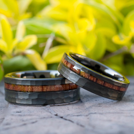 Hammered Black Wood Tungsten Ring Set His Her Wedding Band 8MM 6MM 4MM Size 4 to 15 Men Women  Anniversary Couple Duo Or Single Promise Gift