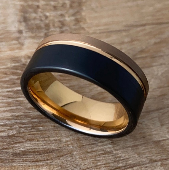 Male Tungsten Ring Rose Gold Black 8MM Wedding Band Two Tone Brushed Groove Style Men Sizes 5 to 14 His Anniversary Engagement Special Gift