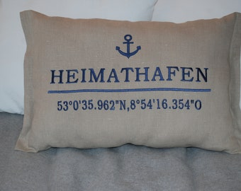 Pillow embroidered with coordinates 100% linen