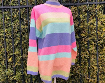 Vintage 1980/'s Sweater; Spring; Bedford Fair; Size Large; Colorful; Bright; Striped; Pastel