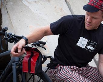 Bike bag made of bicycle hose and tarpaulin