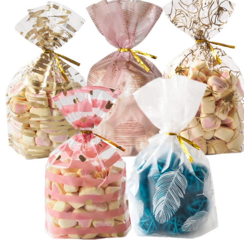 Clear Cellophane Bags Cookie Bags Clear Treat Bags Christmas Wedding Large Size 7 5 X 5 11 Inches 25 Pcs