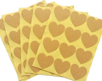 Heart shape kraft self-adhesive labels - Heart shape kraft Stickers - Kraft gift tags - Wedding kraft labels - Pack of 100
