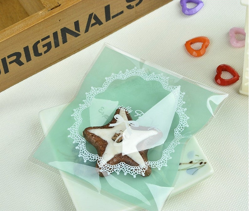White Lace Long Cello Cellophane Wedding Party Birthday Biscuit Favor Gift Bags Party Supplies
