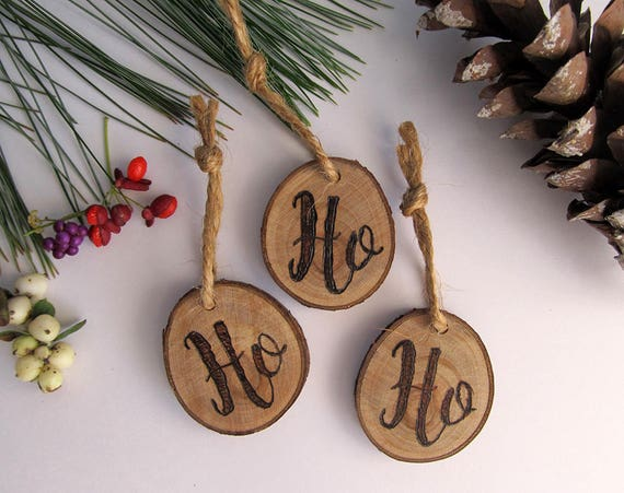 Christmas Ornaments Set Of 3 Reclaimed Wood Holiday Ornaments Stocking Stuffers Ho Ho Ho Ornament Set Wooden Rustic Holiday Decor