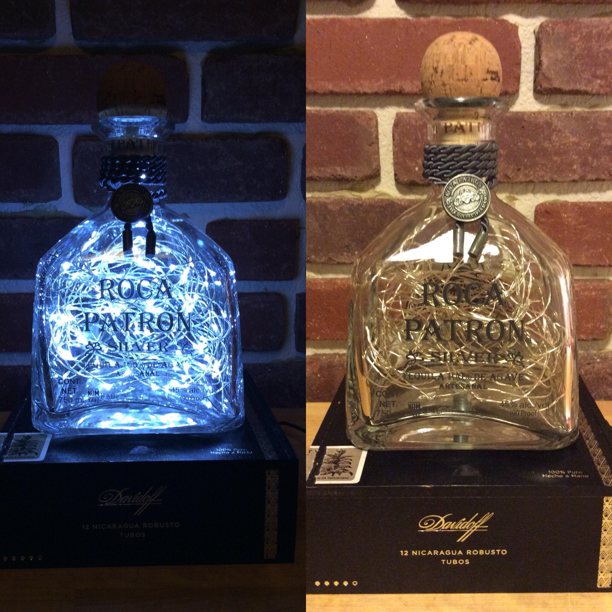 zoom Roca Patron Silver Tequila BottleCigar BoxLED