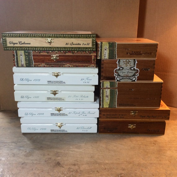 Empty Cigar Boxes, Wood Box, My Father Cigars, DIY Project, Cigar Box,  Handmade, Mens Valet, Upcycled, Storage