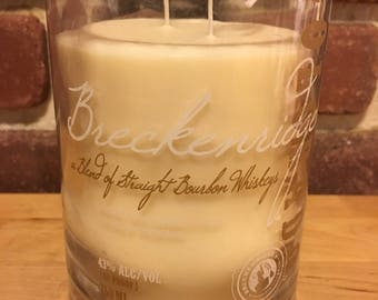 Breckenridge Upcycled Soy Wax Candle, Handmade Custom Scented Recycled Liquor Bottle, Best Smelling Gift for Him or Her, Hand Crafted