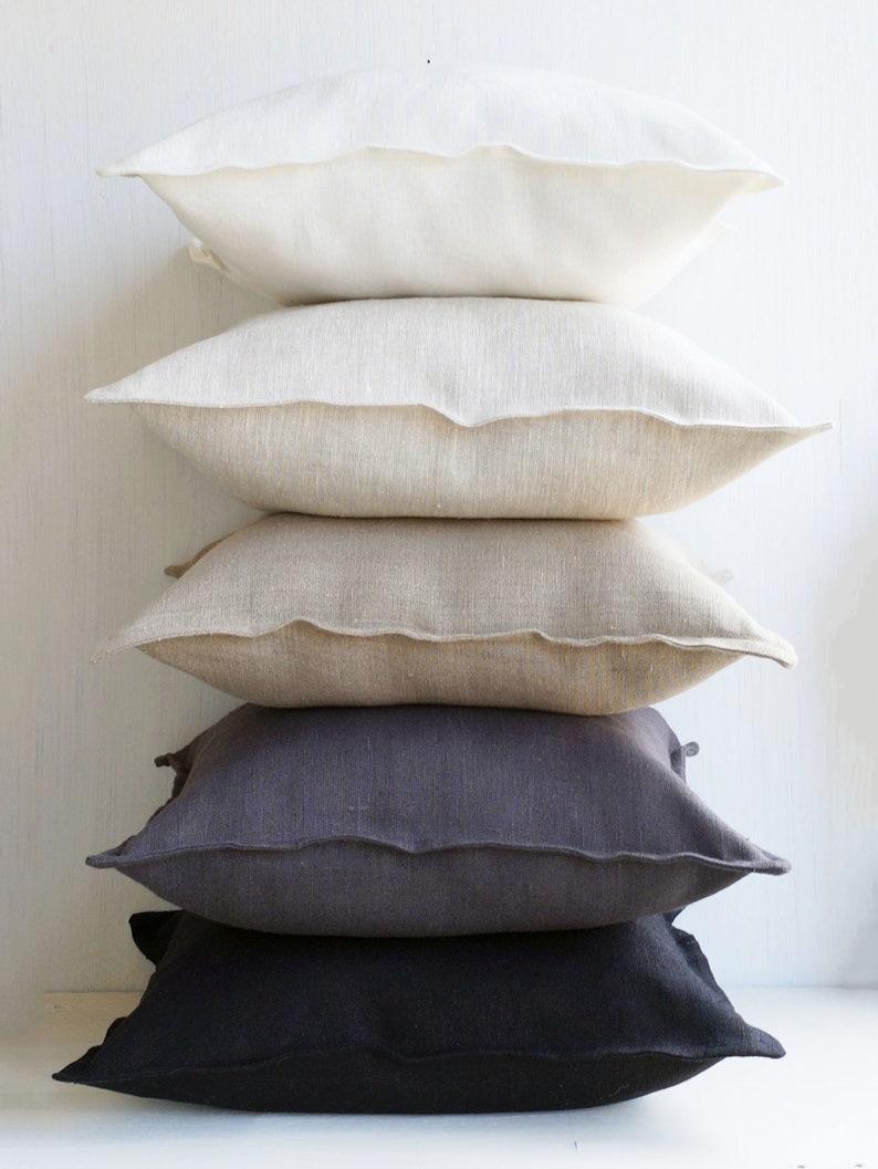24x24 Linen throw pillow covers 20x20 Flax linen euro sham 26x26 Gray lumbar pillow cover 12x20 14x36 20x54 18x18