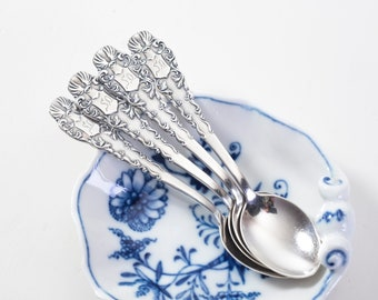 Vintage Demitasse Spoons Coffee Spoons ~ Four Art Deco Silver Plate Small Spoons High Tea ~ Food Styling Photo Props EPNS Silverplate