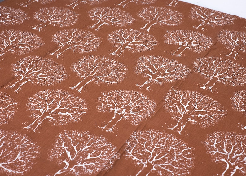 Vintage Scandinavian Fabric 70s Trees Fabric Retro Sewing Supplies Tree Pattern Brown White Cotton Patchwork Quilting