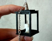 Miniature lantern with candle, gothic Halloween dollhouse decor rustic hanging light for fairy garden spooky jack-o-lantern doll wall sconce