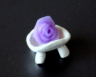 Miniature dollhouse soap with bowl, diorama wash clean accessories prop. Violet rose soap with white legged tray BJD doll bathroom Barby