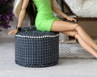 Miniature ottoman dollhouse furniture 1:6 scale. Elegant pouf upholstered blue checkered fabric. Diorama room box chair versatile footstool