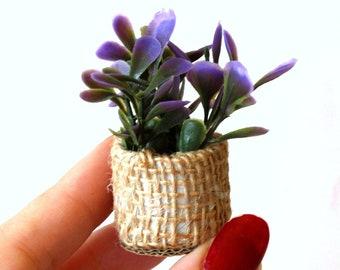 Miniature boho plant with pot for dolls house tiny fake flower mini garden, greenhouse, greenery flora in linen bag. Bohemian dollhouse prop