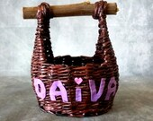 Personalized wicker basket, rustic kitchen bowl for fruit vegetables. Handmade brown storage box with handle, rattan decoration name letters