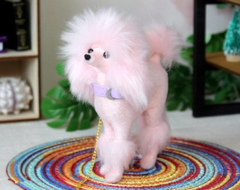 Miniature poodle dog, realistic BJD doll animal replica 1:6 scale. Pink hairy doll companion with collar and leash collectible accessories