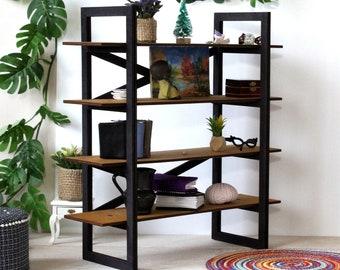 Miniature modern bookcase 1:6 scale dollhouse furniture. Wooden black brown drawer stand diorama salon interior bookshelf display shelving