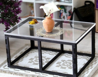 Miniature modern table, black wooden frame with glass top dollhouse furniture 1:6 scale. Large coffee side table top Barb Blyth BJD doll