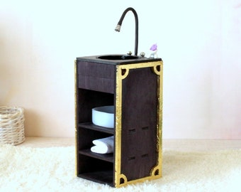 Miniature sink cabinet 1:6 scale dollhouse bathroom kitchen wash bassinet with drawer modern black gold vanity sinker wash bowl basin mixer