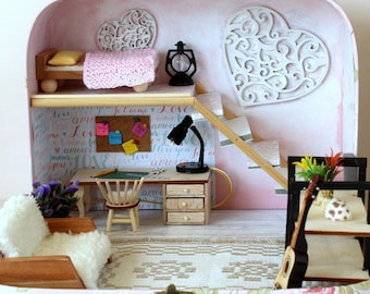 Travel dollhouse in a suitcase 1:12 scale study room with desk bed sofa stairs two floor props bedding lamp cute Realpuki one foot roombox