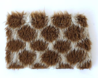 Miniature cheap fur mat for dollhouse, recycled diorama roombox plaid bee hexagon furry matching carpet rug 5 inch BJD doll decor brown
