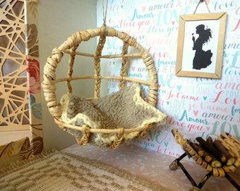 1/12 scale hanging chair, boho dollhouse furniture for Realpuki, Irealdoll Pukipuki BJD doll. Modern miniature swing egg one inch wicker