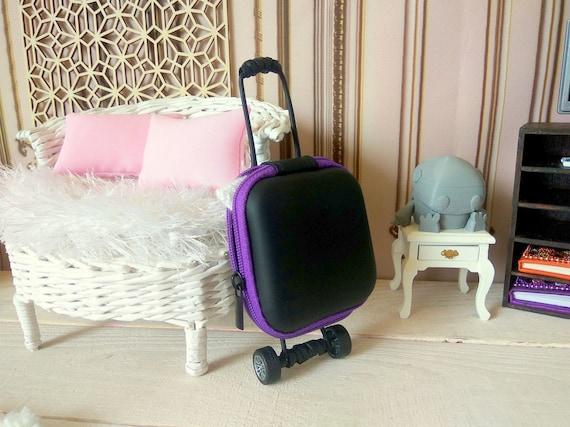 Miniature luggage 1//6 scale Barbie Blythe dolls bag dollhouse travel suitcase
