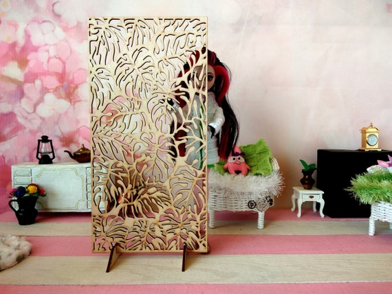 carving doll room box partition dollhouse wall stand decor wallpaper miniature room divider Dressing screen