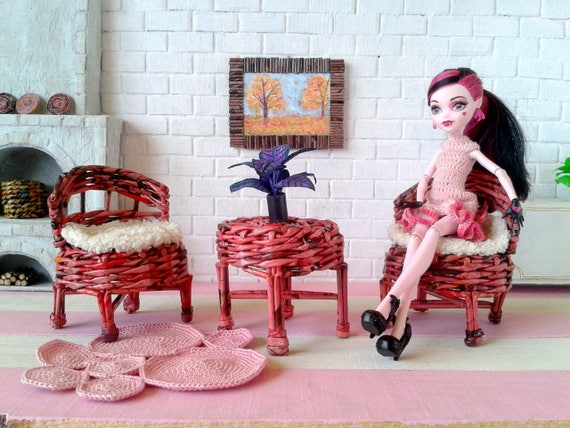 Miniature Dollhouse Furniture Set. Kidkraft Wicker Doll
