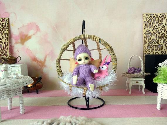 miniature wicker shabby style pram for Lati Yellow 1:8 scale nursery scenes Doll stroller buggy furniture