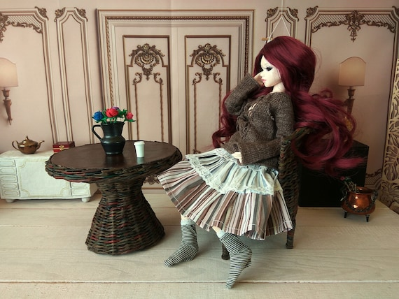 1//4 scale furniture set for Minifee doll Miniature wicker chair and table MSD SD fashion dollhouse prop.