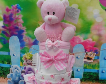 Deluxe 3 tier Baby Nappy Cake, baby shower, new baby gift