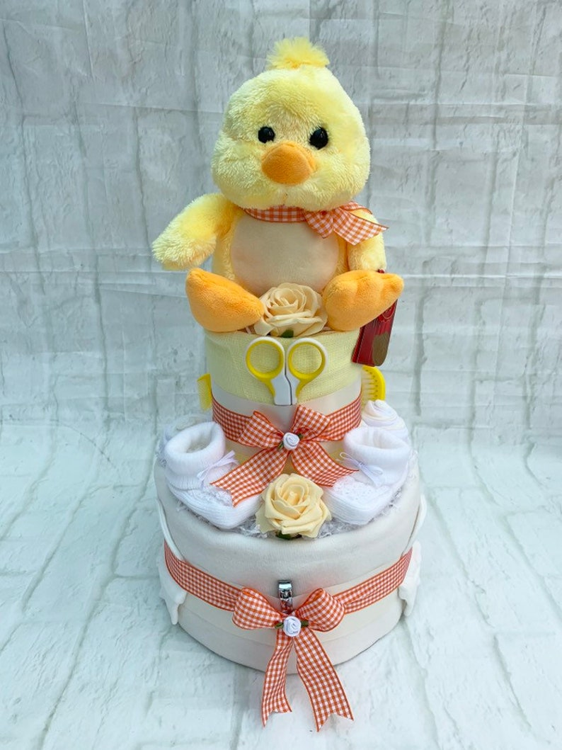 NAPPY CAKE//HAMPER//BABY SHOWER GIFT 3 TIER UNISEX//NEUTRAL//YELLOW BabyGAGA