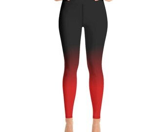 91b77cc02 Black and Red Ombre Leggings